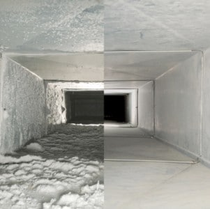HVAC duct before and after